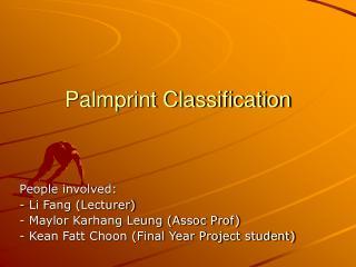 Palmprint Classification