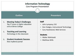 Information Technology  Core Program Presentation