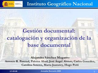Gestión documental:  catalogación y organización de la base documental