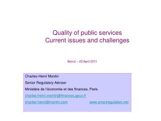 Quality of public services Current issues and challenges