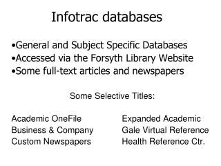 Infotrac databases