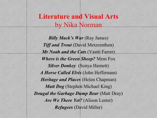 Literature and Visual Arts  by Nika Norman