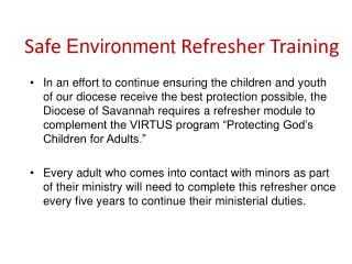 Safe  Environment  Refresher Training