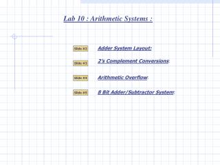 Lab 10 : Arithmetic Systems :
