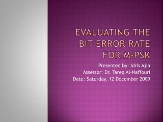 Evaluating the Bit Error Rate for M-PSK