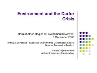 Environment and the Darfur Crisis
