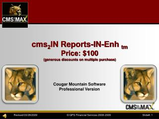 Cougar Mountain Software Professional Version