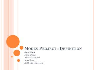 Modes Project : Definition