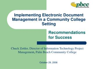 Implementing Electronic Document Management in a Community College Setting