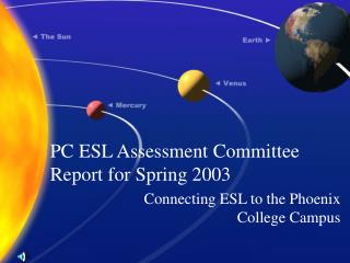 PC ESL Assessment Committee Report for Spring 2003