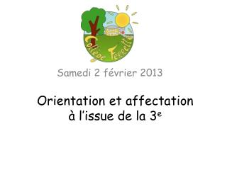 Orientation et affectation à l'issue de la 3 e