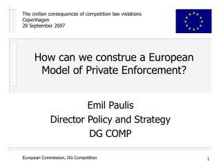 How can we construe a European Model of Private Enforcement?