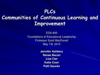PLCs Communities of Continuous Learning and Improvement