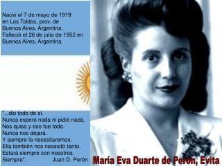María Eva Duarte de Perón, Evita