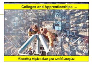 Colleges and Apprenticeships …