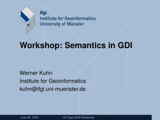 Workshop: Semantics in GDI