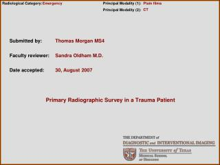 Primary Radiographic Survey in a Trauma Patient