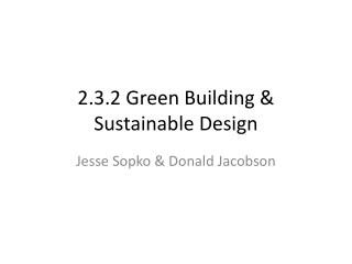 2.3.2 Green Building & Sustainable Design