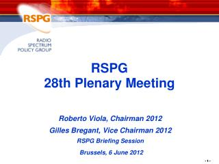 RSPG  28th Plenary Meeting