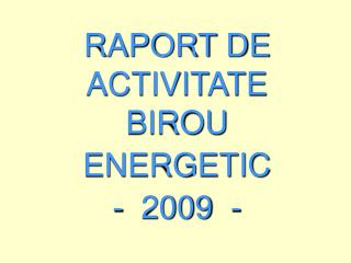 RAPORT DE ACTIVITATE  BIROU ENERGETIC  -  2009  -