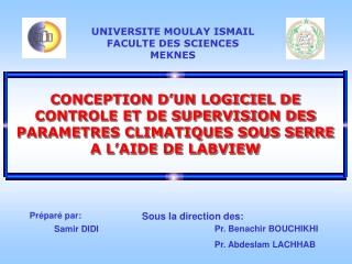 CONCEPTION D'UN LOGICIEL DE CONTROLE ET DE SUPERVISION DES P