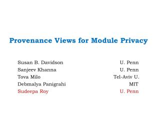 Provenance Views for Module Privacy