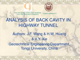 ANALYSIS OF BACK CAVITY IN HIGHWAY TUNNEL
