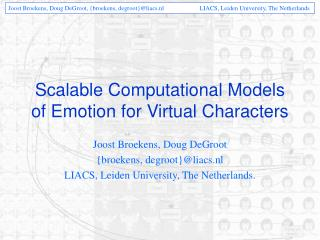 Scalable Computational Models of Emotion for Virtual Characters