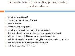 Successful formula for writing pharmaceutical product releases