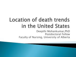 Location of death trends in the United States