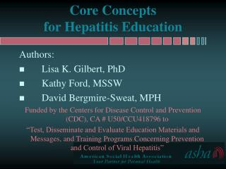 Core Concepts  for Hepatitis Education