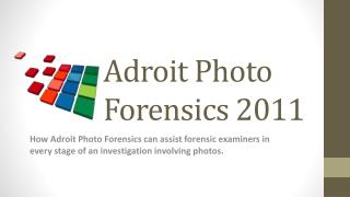 Adroit Photo Forensics 2011