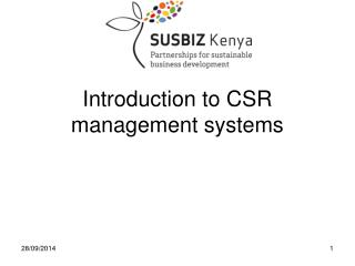 Introduction to CSR management systems
