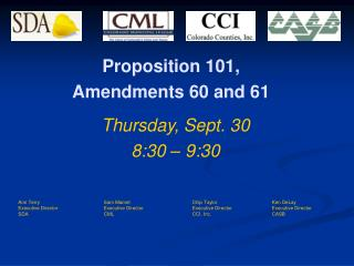 Proposition 101,  Amendments 60 and 61