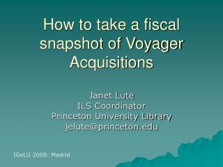 How to take a fiscal snapshot of Voyager Acquisitions