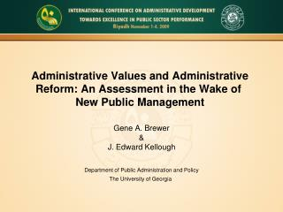 Gene A. Brewer & J. Edward Kellough Department of Public Administration and Policy