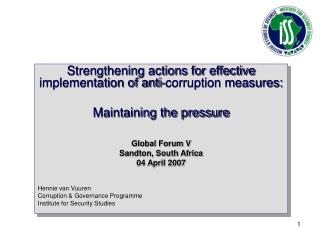 Strengthening actions for effective implementation of anti-corruption measures: