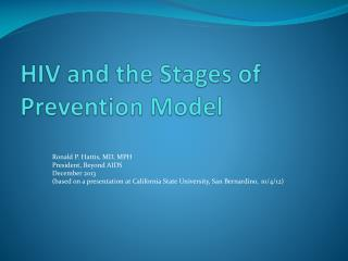 HIV and the Stages of Prevention Model