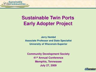 Sustainable Twin Ports  Early Adopter Project