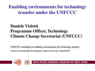 Enabling environments for technology transfer under the UNFCCC