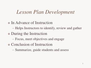 Lesson Plan Development