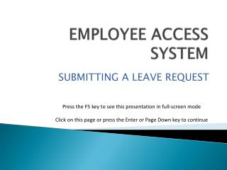 EMPLOYEE ACCESS SYSTEM