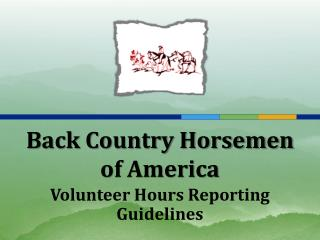 Back Country Horsemen  of America