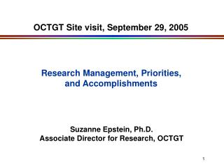 OCTGT Site visit, September 29, 2005
