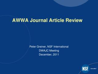 AWWA Journal Article Review