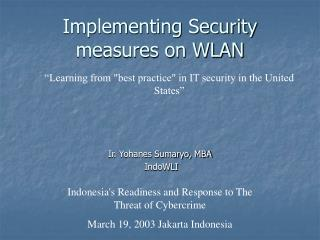 Implementing Security measures on WLAN