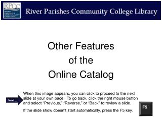 Other Features  of the Online Catalog