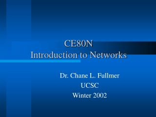 CE80N Introduction to Networks