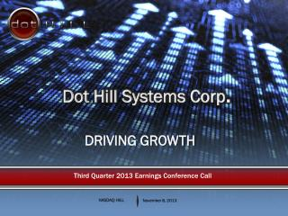 Third Quarter 2013 Earnings Conference Call
