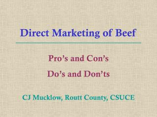 Direct Marketing of Beef